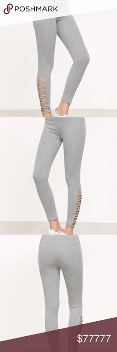 🔶Coming Soon🔶 Crisscross Leggings Dark Grey Lattice Hem Leggings   Criss Cross pattern at bottom Very stretchy material  ❗️One size ❗️  Will not exceed $25.00  Comment to reserve  Like to be notified of arrival   Will post measurements when item arrives Bewitched Boutique Pants Leggings
