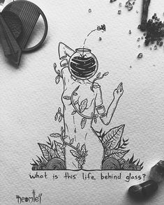 """What is this life behind glass?"" I wonder what my fishbowl is? And if I would want to jump out if I knew? Weird Drawings, Dark Art Drawings, Drawing Sketches, Skeleton Art, Pen Art, Skull Art, Aesthetic Art, Art Sketchbook, Art Inspo"