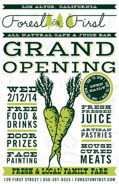The grand opening flyer for our new cafe.   miejsce śniadaniowe