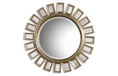 """Buy the Uttermost 14076 B Silver Leaf Direct. Shop for the Uttermost 14076 B Silver Leaf Cyrus Round Mirror With """"Spokes"""" Mirrored Framed and save. Silver Wall Mirror, Round Wall Mirror, Beveled Mirror, Round Mirrors, Mirror Mirror, Mirror House, Circular Mirror, Mirror Bedroom, Magic Mirror"""