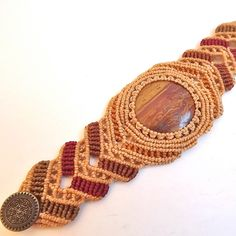 Macrame bracelet - Earth Toned Jasper. $65.00, via Etsy.
