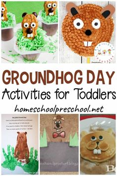 This post is packed full of Groundhog Day activities for toddlers. You'll discover fun books, fine motor activities, snack ideas, crafts, and more! Groundhog Day Activities, Motor Activities, Preschool Learning Activities, Preschool Printables, Winter Activities, Educational Activities, Toddler Activities, Toddler Crafts, Preschool Themes