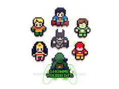 - Superman (3 in x 3 1/4 in) - Green Lantern (2 3/4 in x 3 1/2 in) - The Flash (2 3/4 in x 3 in) - Martian Manhunter (3 in x 3 1/4 in) - Wonder Woman (3 in x 3 1/4 in) - Aquaman (3 in x 3 1/4 in) -...