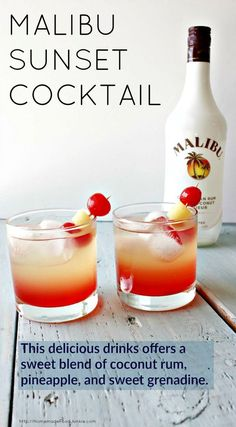 Malibu Sunset Cocktail This delicious drink recipe offers a sweet blend of coconut rum, pineapple juice, and sweet grenadine syrup. Pop a cherry and Pineapple garnish in for your new favorite beach drink! Beach Drinks, Summer Drinks, Fall Drinks, Malibu Cocktails, Sweet Cocktails, Malibu Sunset Cocktail Recipe, Cocktail Drinks, Sunset Drink Recipe, Drinks With Malibu Rum