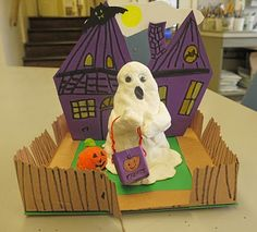 This ghostly diorama combines air dry clay sculpture with a haunted house backdrop. A great art activity to do with kids!