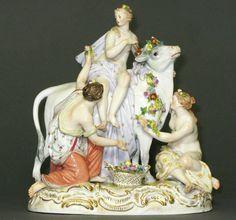PORCELANA DE MEISSEN - Manufactura del Castillo de Albrechtsburg, siglo XVIII - Escena Mitológica, Europa raptada por Zeus transformado en toro