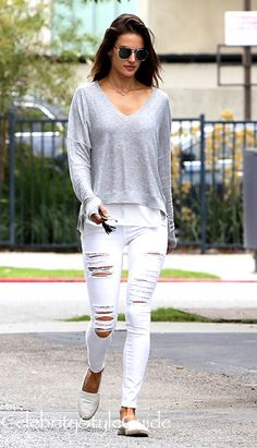 White Out For Fall Like Alessandra Ambrosio In On Trend Distressed Jeans