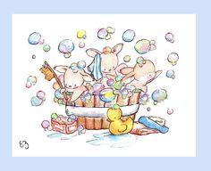 Children Art Print Bunny Bubble Bath PRINT 8X10 by LoxlyHollow