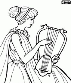 Woman playing the lyre in the period of classical antiquity of Greece coloring page