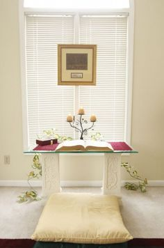 The prayer room in Kawanais Milligan's home  includes an altar,  which provides a place for meditation and reflection. She spends about an hour there before preparing for work.