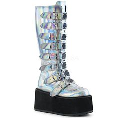 daf4c81dcab  elegantshoegirl  peeptoeheels Awesome Demonia Women s Damned-318 Knee High  Boot