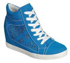 RENEEZE DOLLY-01 WOMENS WEDGE SNEAKER BOOTIES-BLUE #RENEEZE #PlatformsWedges