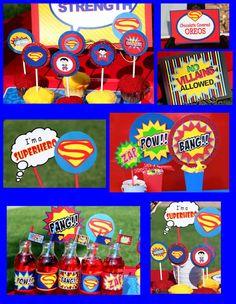 SUPERMAN Complete  Super Hero Birthday Party  or by KROWNKREATIONS. , via Etsy.