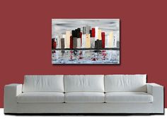 Abstract Modern Large original Fine Art Red Gray silver by OritArt, $199.00
