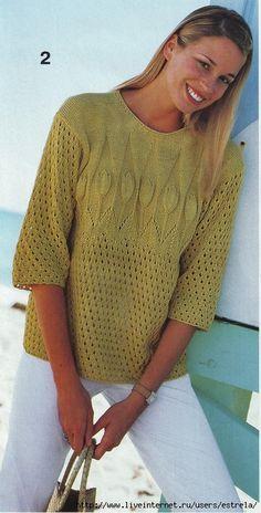 летний пуловер с тюльпанами