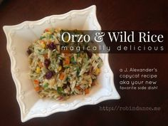 Orzo and Wild Rice salad - A FANTASTIC new side dish that will have EVERYONE raving! When I tried it at a birthday lunch for a friend, every guest wanted the recipe! It's a J Alexanders Copycat Recipe. Orzo, Great Recipes, Favorite Recipes, Summer Recipes, Delicious Recipes, Yummy Food, Wild Rice Recipes, Birthday Lunch, Healthy Salad Recipes