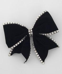 Loving this Black Velour Rhinestone Bow on #zulily! #zulilyfinds