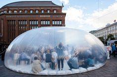 plastique fantastique inflates bubble around landmark in helsinki