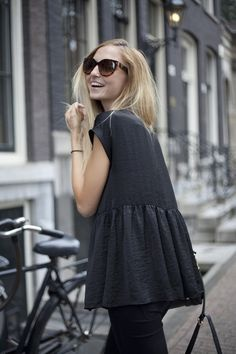 silk peplum top // love this. Take a baggy top and add a peplum jam.