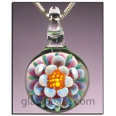 Purple and Pink Glass Flower Pendant - Boro Lampwork Bead by Glass Peace $20.95
