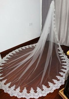 4cca087169 Cathedral Wedding Veil 3 Meter White Ivory Lace Edge With Comb Bride  Accessories  Wedding
