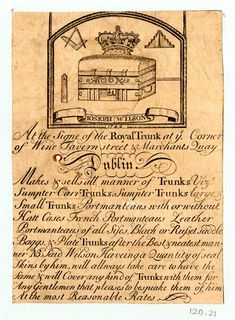 DRAFT Trade card of Joseph Wilson, trunk-maker Free Printable Art, Printable Designs, Vintage Labels, Vintage Ephemera, Hanoverian Kings, Script Writing, Luggage Labels, Old Paper, Vintage Travel Posters