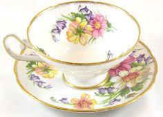 Taylor & Kent TEA CUP & SAUCER vintage Bone China England Floral Scalloped