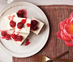 Chef Michael Laiskonis' Cheesecake with Ginger-Lime Candied Raspberries Recipe at Epicurious.com