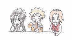 Naruto, Sasuke and Sakura in the candy store xD Sasuke X Naruto, Naruto Team 7, Anime Naruto, Sarada Uchiha Manga, Kakashi Sensei, Naruto Comic, Naruto Cute, Sakura And Sasuke, Naruto Shippuden Anime