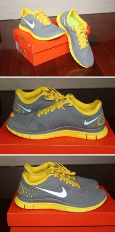 Gray and Yellow Nike Free Run Shoes