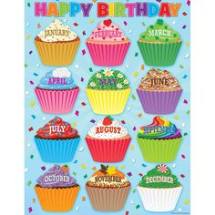 - Cupcakes Happy Birthday Chart, Convenient, useful learning tools that decorate as they educate! Each chart measures by Related lessons and. Birthday Display In Classroom, Birthday Wall, Birthday Frames, Classroom Displays, Birthday Cupcakes, Happy Birthday, Barnyard Cupcakes, Cupcake Bulletin Boards, Birthday Bulletin Boards