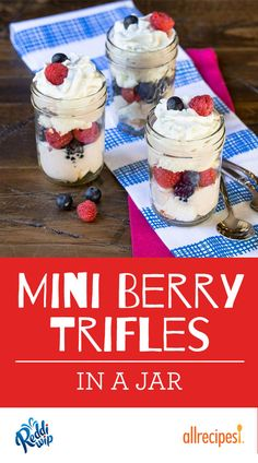 "Mini Berry Trifles in a Jar | ""An easy dessert made by layering fresh berries with a creamy pudding mixture and angel food cake pieces in small jars for Mini Berry Trifles."""