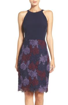 Maggy London Crepe & Lace Sheath Dress available at #Nordstrom