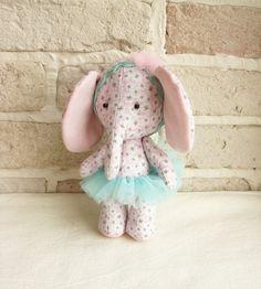 Ballerina Elephant Handmade Soft Toy Lucky Clover by sistersdreams