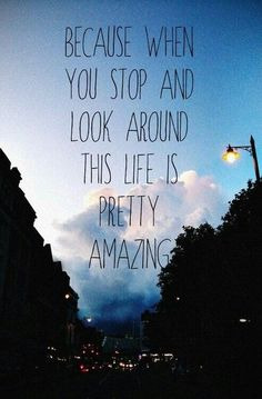 Because when you stop and look around, life is pretty amazing.