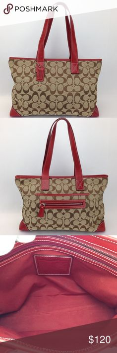 """Coach Tan Canvas/Red Leather Shoulder Tote Bag Great condition! 100% pre-owned authentic Style 6082. No trades.   Exterior features: -Tan&brown canvas w/tonal stitching; red leather trim w/contrasting stitching -Patch pocket on one side w/zippered pocket attached to it; both w/red leather trim -Dual flat leather straps w/ contrasting stitching; 8.25"""" drop -Top zip closure w/ red leather zipper pull  Interior features: -Red woven lining -Key hook -Zippered pocket on one wall w/ red leather…"""