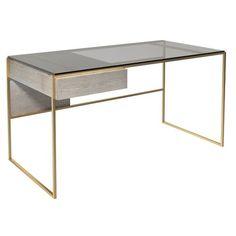 Canora Grey Desk weathered oak with various frame colour options Colour (Frame): Brass Brushed Contemporary Desk, Modern Desk, Modern Living, Home Office, Oak Desk, Grey Desk, Adjustable Height Desk, Weathered Oak, Messing