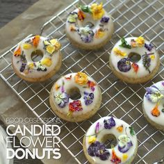 Wedding Food Food Obsessions: Candied Flower Donuts - Lemon poppy seed donuts become a sweet-looking garden when it's topped with sugary, brilliant edible flowers. Donut Recipes, Cake Recipes, Dessert Recipes, Patisserie Fine, Flower Food, Food Obsession, Sweet Treats, Yummy Food, Diy Videos