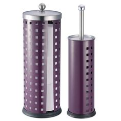 This toilet brush and toilet paper set is crafted of metal with a fine purple coating. The toilet brush holder almost completely hides the brush from view, adding practicality and class to your bathroom.