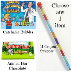 Choose any 1 item, will it be the catchable bubbles, the 11 crayon swapper or the Animal Bar with the activity inside the wrapper?