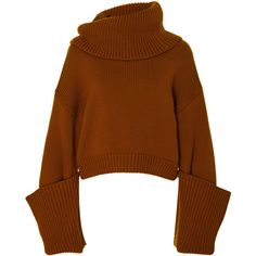 This **Monse** Giant Cuff Sweater Cashwool features an oversized turtleneck, oversized cuffed sleeves, and a cropped hem. Brown Sweater, Cropped Sweater, Turtleneck Top, Girl Outfits, Fashion Outfits, Cute Crop Tops, Knit Fashion, Winter Outfits, Oversized Sweaters