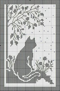 Kira scheme crochet: Scheme crochet no. 1674 Kira scheme crochet: Scheme crochet no. Free Cross Stitch Pattern - Cat and flowers silhouette Afbeeldingsresultaat voor crochet firana with cat The Watchful Cat This would make a nice curtain in filet crochet. Cat Cross Stitches, Cross Stitch Bookmarks, Cross Stitching, Cross Stitch Embroidery, Embroidery Patterns, Crochet Patterns, Filet Crochet Charts, Knitting Charts, Crochet Curtains