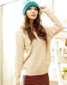 Fashion rib knit round neck sweater