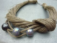 Natural linen necklace with spring colors ceramic beads. linen juwelry/ linen necklace
