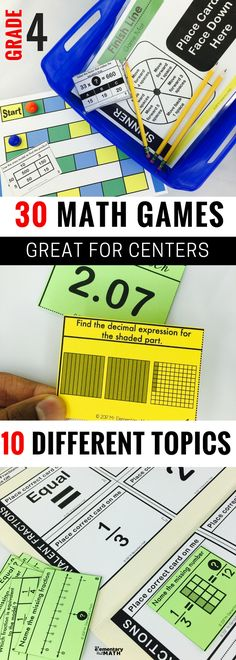 Math games are fun way to keep kids engaged at math centers. Check out these 30 games for your 4th grade students.