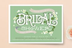 """Shower Blossoms"" - Floral & Botanical, Hand Drawn Bridal Shower Invitations in Forest by Alethea and Ruth."