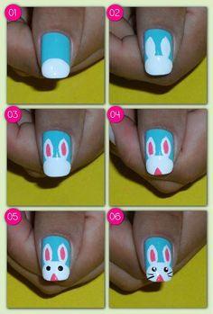 Easy Step by Step Easter Nail Art Tutorials for Learners 2018 day nails easy step by step Easter Nail Designs, Easter Nail Art, Toe Nail Designs, Nail Art For Kids, Cool Nail Art, Pretty Nails, Cute Nails, Bunny Nails, Halloween Nail Art