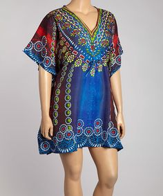 Look at this #zulilyfind! Blue Embellished Yoke Cape Sleeve Dress - Plus #zulilyfinds