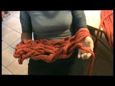 """The original video for the """"hand crochet that chunky bedspread"""" pin.  Make your own yarn by cutting 3"""" strips of a fleece blanket and sew lengths together!"""