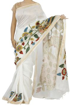 Buy Off White Kalamkari Applique Work Chanderi Silk Saree-Off White Kalamkari Applique Work Pure Silk Chanderi Silk Saree, Kalamkari Saree, Pure Silk Sarees, Cotton Textile, Buy Sarees Online, Saree Blouse Designs, Printed Cotton, Hand Embroidery, Applique